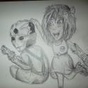 in parallel universe: Thane a Shepard ako deci :D ... skúsim ešte ofarbičkovať, lebo ťažko sa kreslí zelený človek, ups nie, drill, ceruzkami... ale myslim že to doserem :D